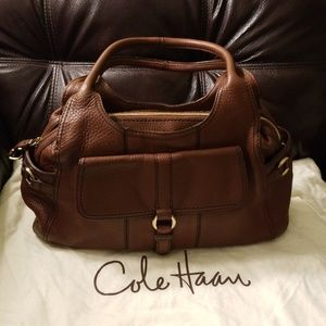 AUTH COLE HAAN BROWN LEATHER SATCHEL BAG PURSE